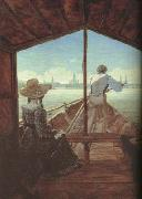Carl Gustav Carus Boat Ride on the Elbe,near Dresden (mk10) oil painting reproduction